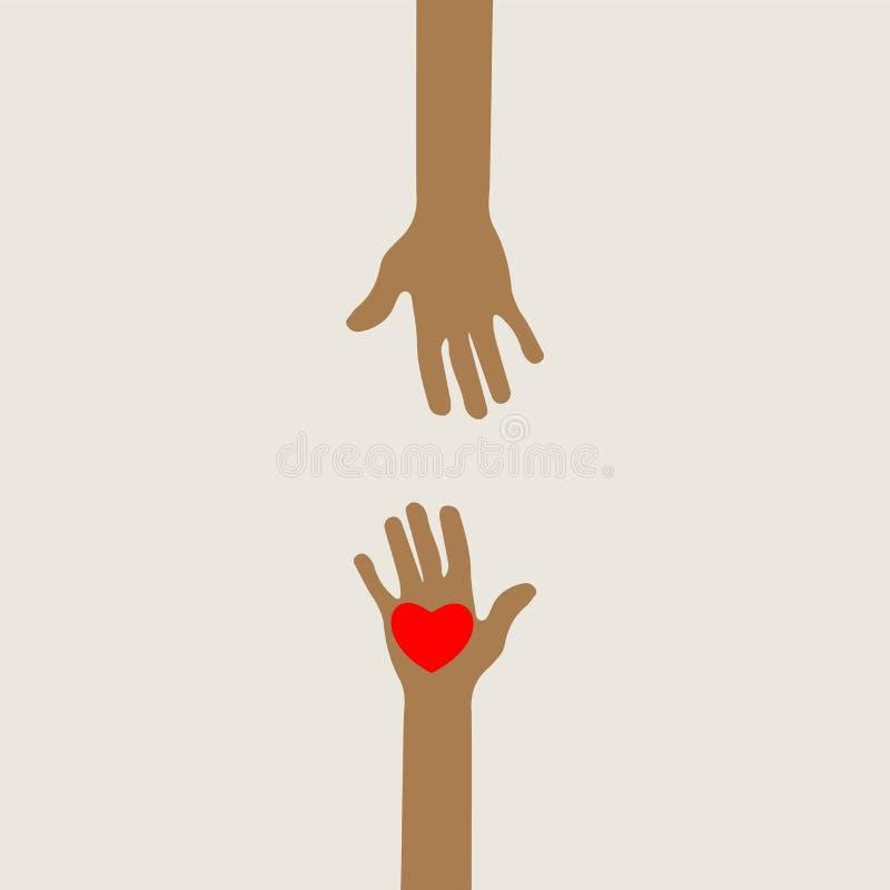 Händer som ut når förälskat royaltyfri illustrationer