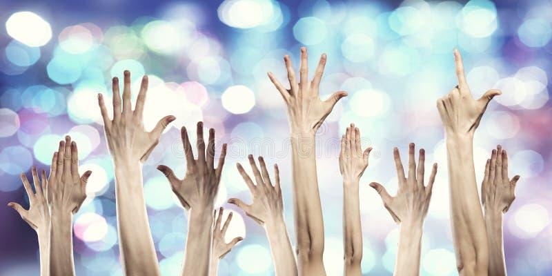 Händer som visar gester Blandat massmedia arkivbild