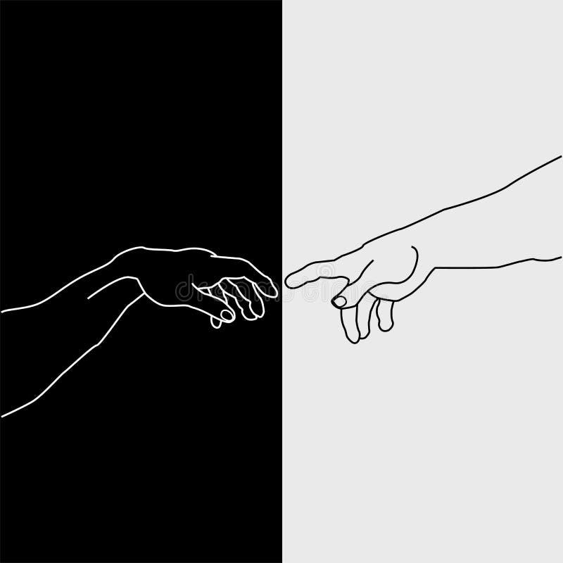 Händer som visar skapelsen av Adam stock illustrationer
