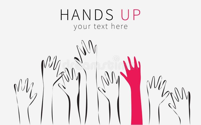 Händer up konturn Monokromma tecknad filmhänder lyftte upp i luften, betoningen i form av en röd hand stock illustrationer