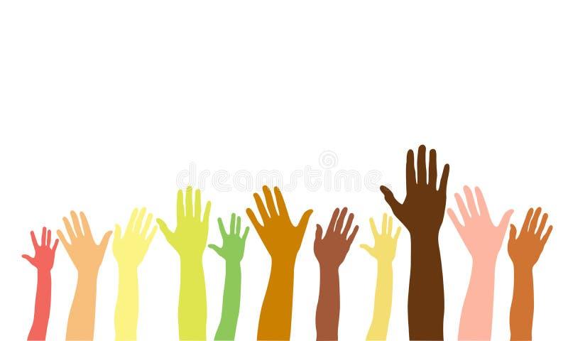 Händer upp av olika lopp, färger, nationaliteter Vektor isolerad handkontur på vit bakgrund stock illustrationer