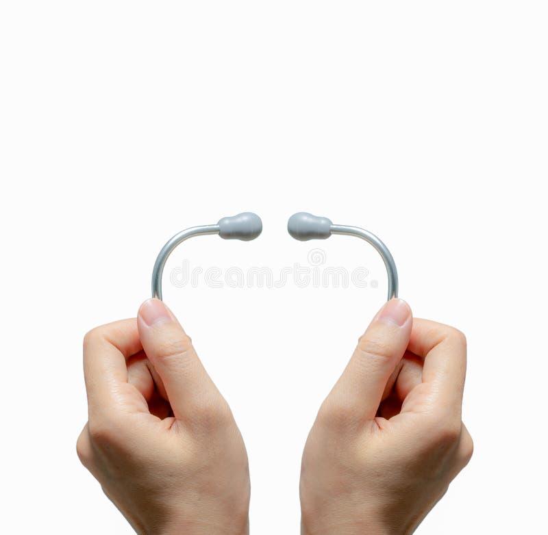 Händestethoskop isoliert auf weißem Grund Gesundheitsprüfung Hintergrund Gesundheitsversorgung und Medizin Diagnostikmedizinische stockfotografie