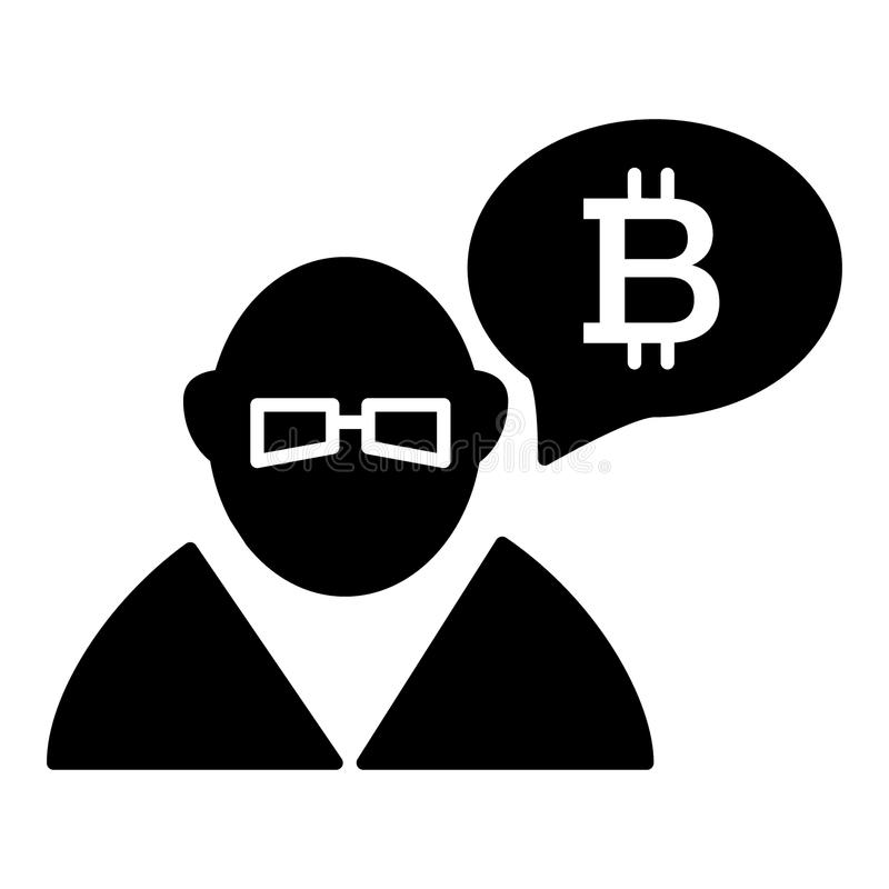 Händler, Person, Austausch, bitcoin Körperikone Vektorillustration lokalisiert auf Weiß Glyphartdesign, entworfen für lizenzfreie abbildung