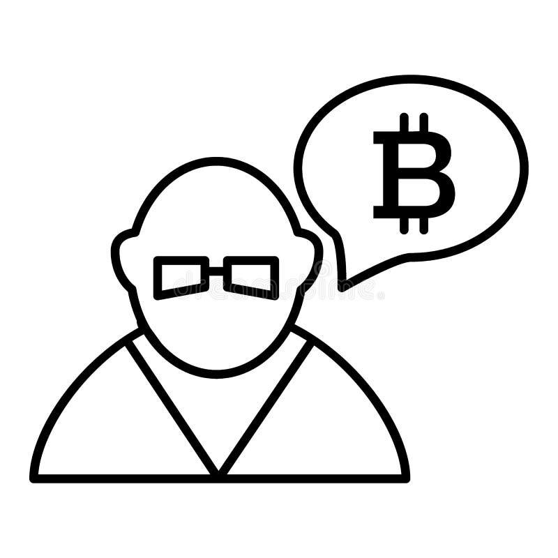Händler, Person, Austausch, bitcoin Linie Ikone Vektorillustration lokalisiert auf Weiß Entwurfsartdesign, entworfen für lizenzfreie abbildung