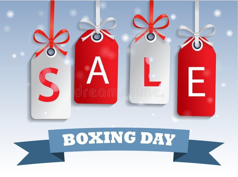 Hänga för etikett för försäljning för boxningdag vektor illustrationer