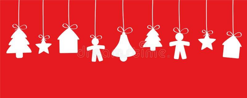 Hänga för garneringar för röd och vit jul royaltyfri illustrationer