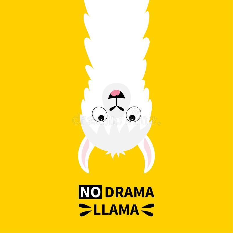 Hänga för lamaalpacaframsida som är uppochnervänt Ingen drama Rolig kawaii för gullig tecknad film som ler teckenet Barnsligt beh vektor illustrationer