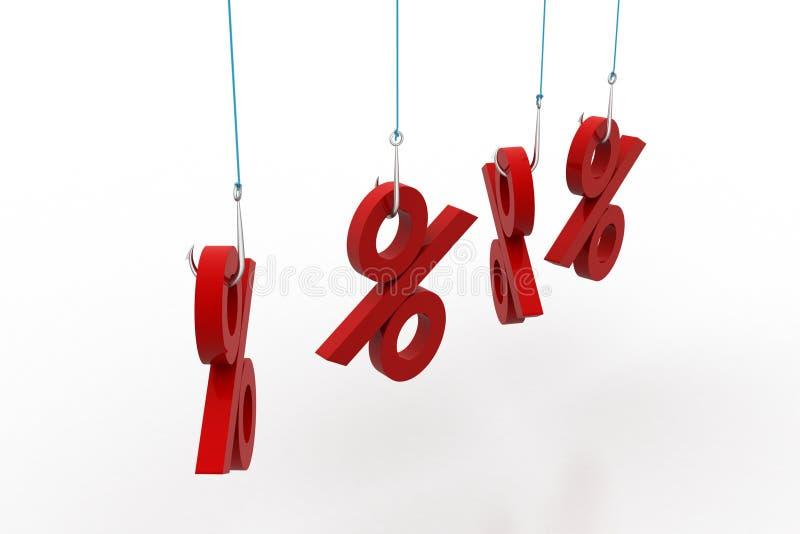 Hänga för procentsatstecken vektor illustrationer