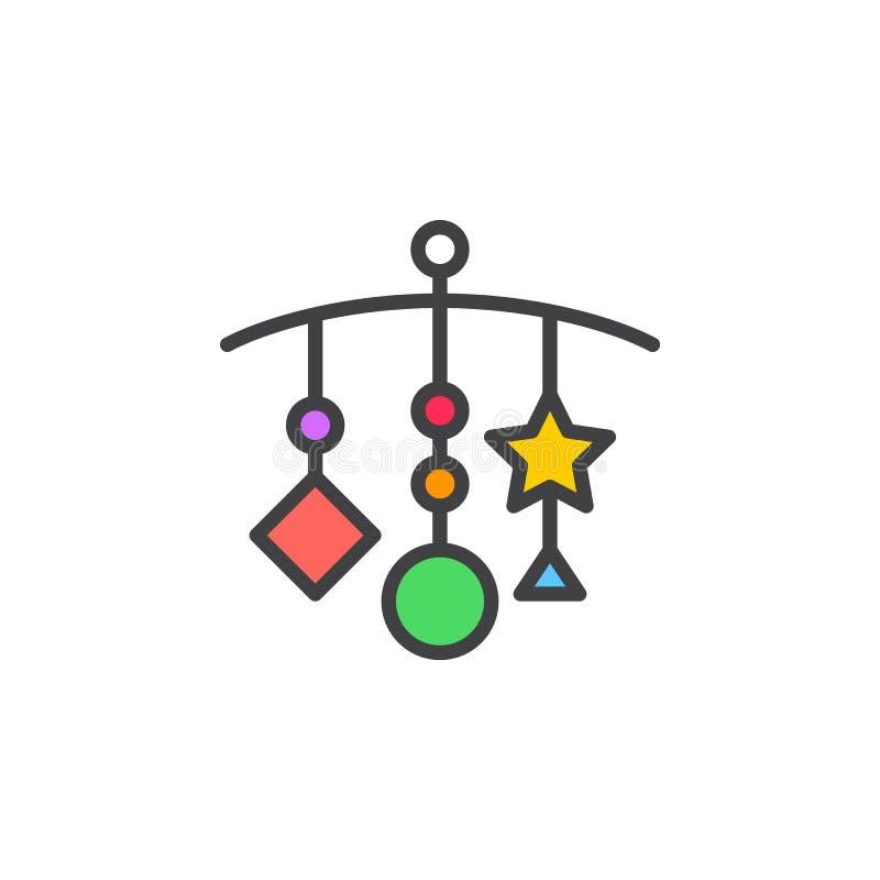 Hänga - fyllda lathundleksaker skisserar symbolen, linjen vektortecknet, linjär färgrik pictogram stock illustrationer