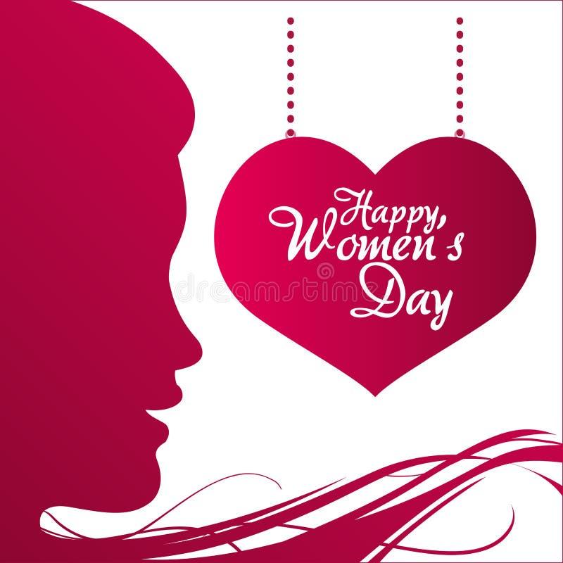 hängande affisch för lycklig kvinnors för dagprofil hjärta för flicka stock illustrationer