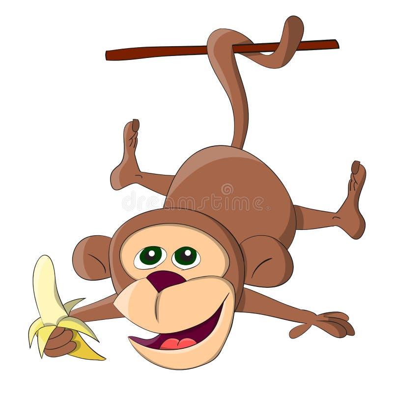 Hängande apa för gullig ovanlig vektor med bananen vektor illustrationer