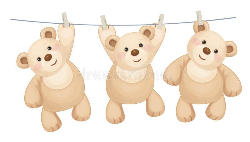 Hängande björnar för vektor royaltyfri illustrationer