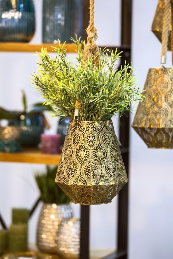 Hängande blomkruka för metallisk brons med den dekorativa blomman Hängande härlig blomkruka med den gröna växten fotografering för bildbyråer