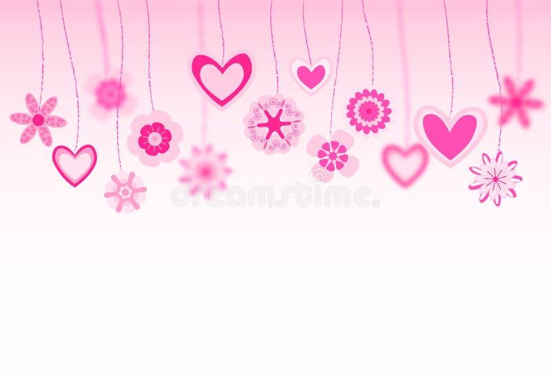 Hängande blommor och hjärta royaltyfri illustrationer