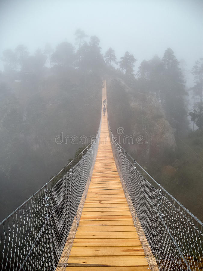 Hängande bro i dimmigt berg royaltyfria bilder