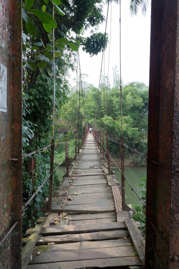 Hängande bro i Sri Lanka arkivbild