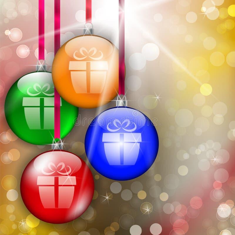 Hängande färgrika julstruntsaker med gåvatecknet stock illustrationer
