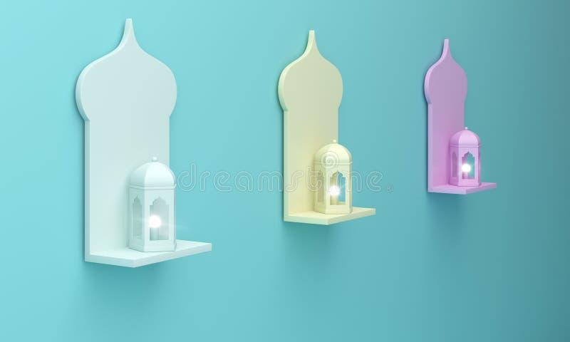 Hängande fönsterhylla och lampa för arabiska blåa gula rosa färger på blå pastellfärgad bakgrund royaltyfri illustrationer