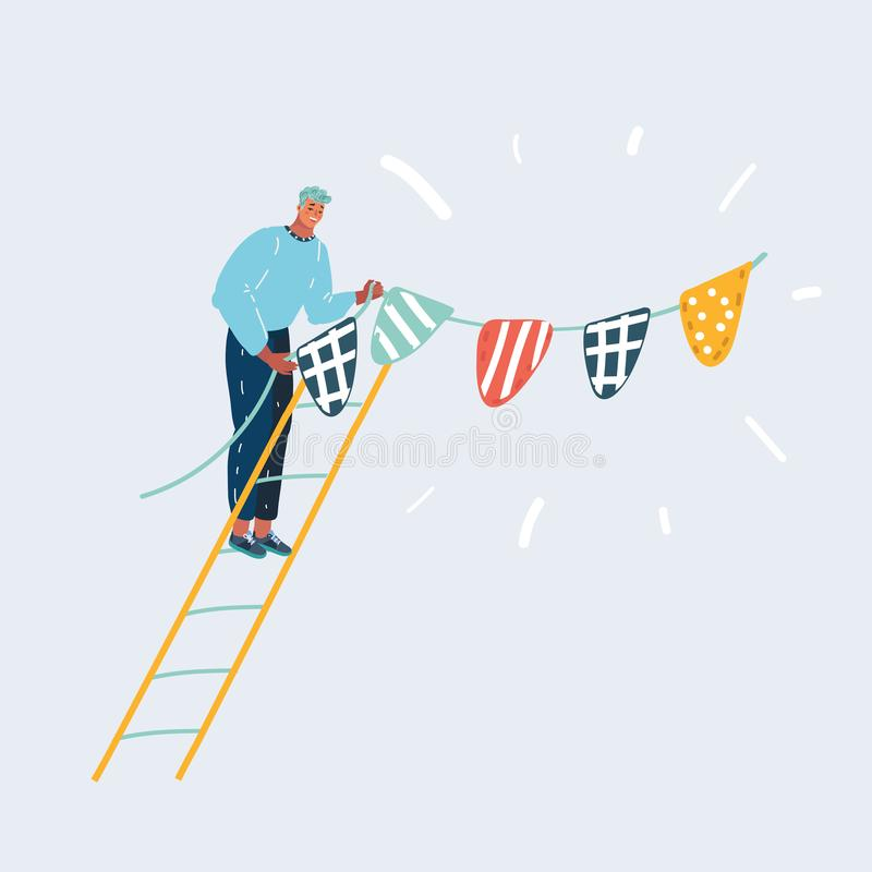 Hängande flaggor, bunting girland på väggen stock illustrationer
