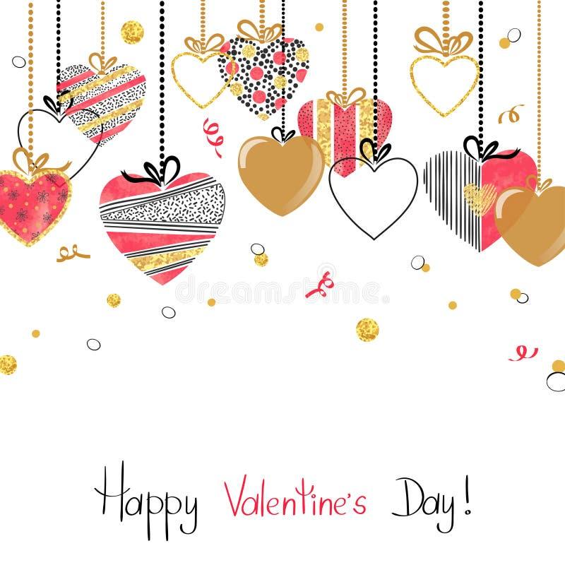 Hängande hjärtor Design för valentindagkort stock illustrationer