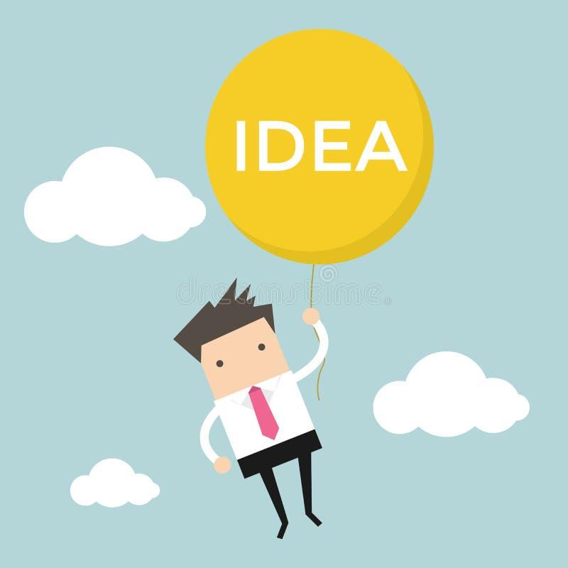 Hängande idéballong för affärsman royaltyfri illustrationer