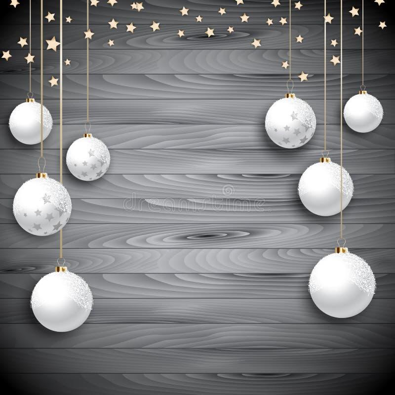 Hängande julstruntsaker på en träbakgrund stock illustrationer