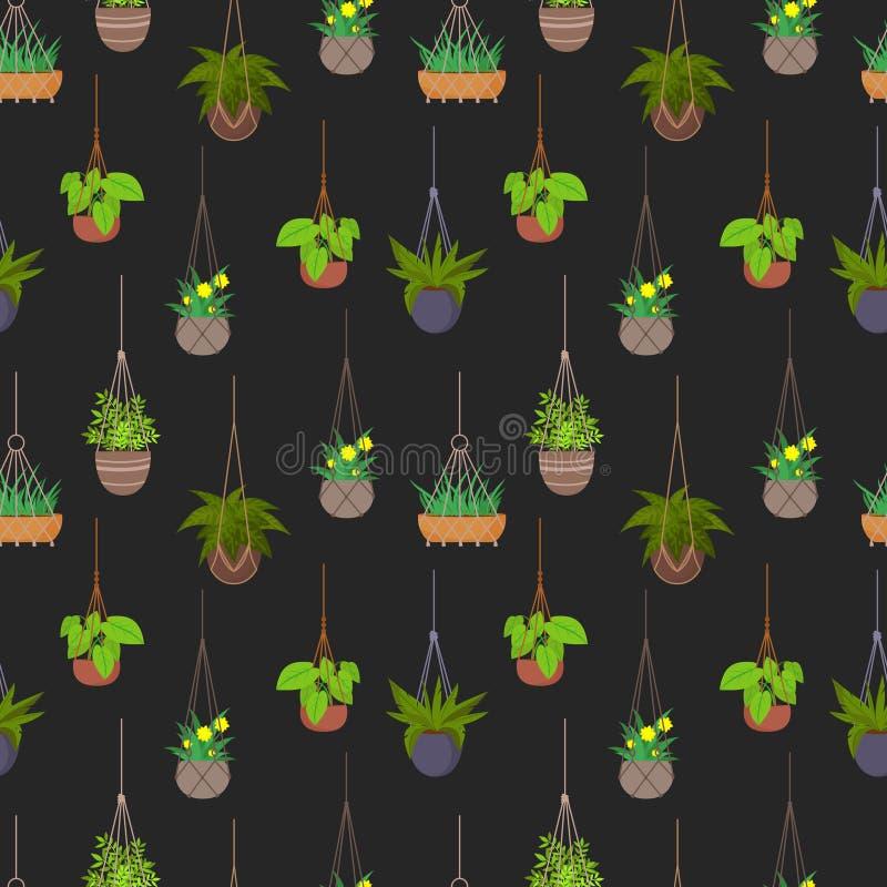 Hängande krukor med sömlös modellbakgrund för växter vektor illustrationer