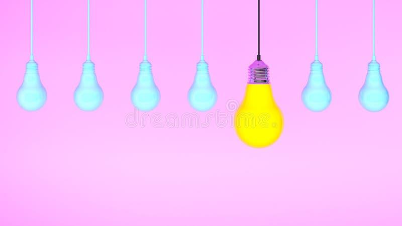 Hängande ljusa kulor med som glöder en olik idé på rosa bakgrund, minsta begreppsidé framförande 3d vektor illustrationer