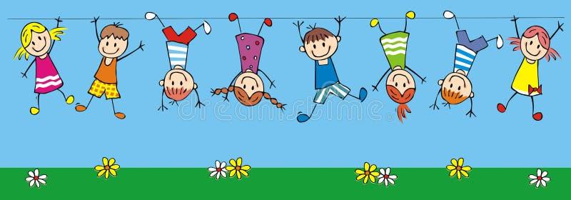 Hängande lyckliga ungar, rolig vektorillustration royaltyfri illustrationer