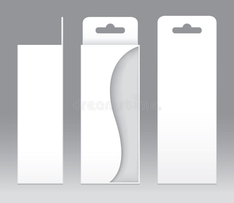 Hängande mellanrum för mall för fönster för ask vit form klippt ut förpackande Töm den vita mallen för asken för ask för gåva för stock illustrationer