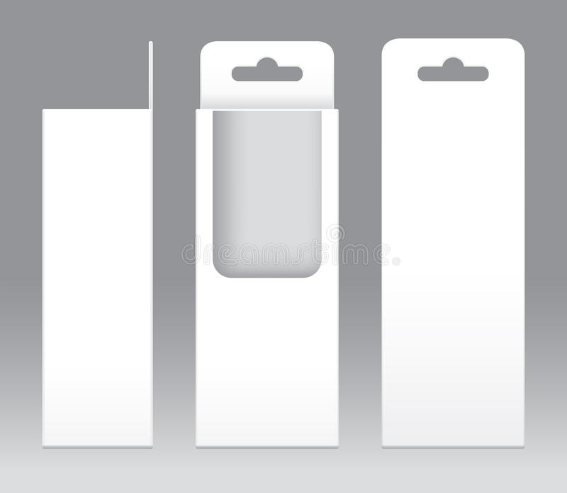 Hängande mellanrum för mall för fönster för ask vit form klippt ut förpackande Töm den vita mallen för asken för ask för gåva för royaltyfri illustrationer