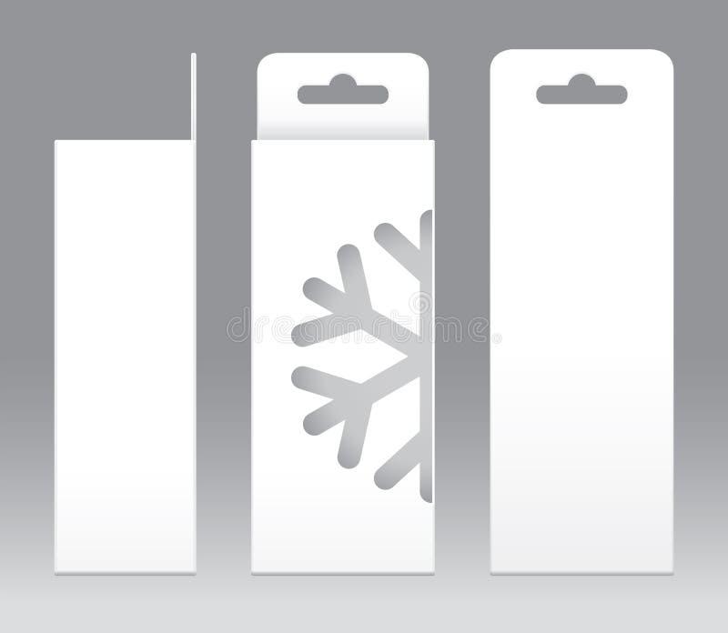 Hängande mellanrum för mall för fönster för ask vit form klippt ut förpackande Töm den vita mallen för asken för ask för gåva för vektor illustrationer