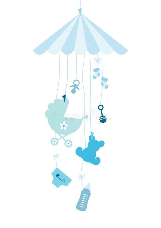 Hängande Mobilé sju behandla som ett barn symbolspojkeblått vektor illustrationer