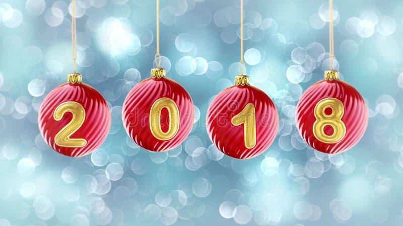 Hängande nummer 2018 blänker julbollar på snöblåttbakgrund royaltyfri illustrationer
