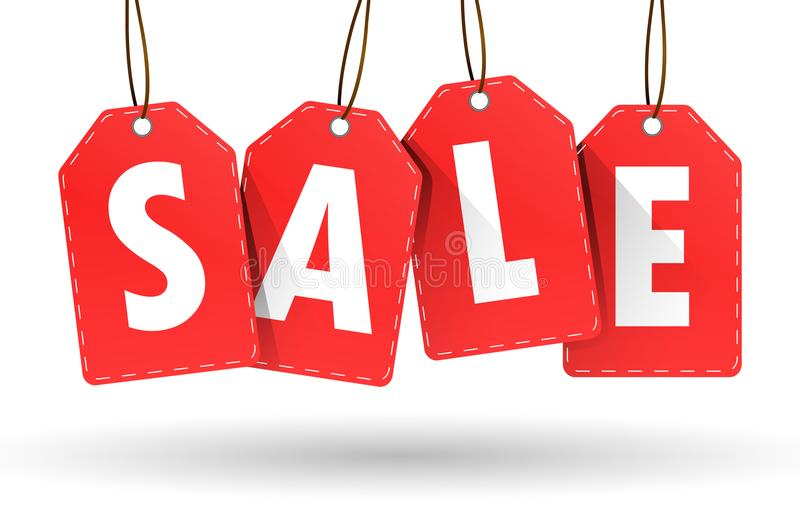 Hängande röd försäljningsetikett på vit bakgrund royaltyfri illustrationer