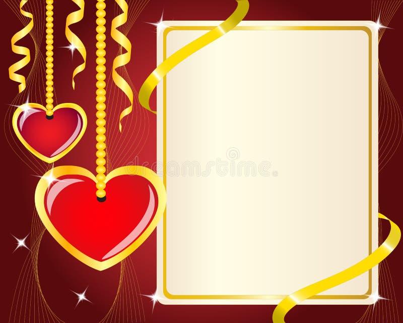 Hängande röd hjärtor och affisch stock illustrationer