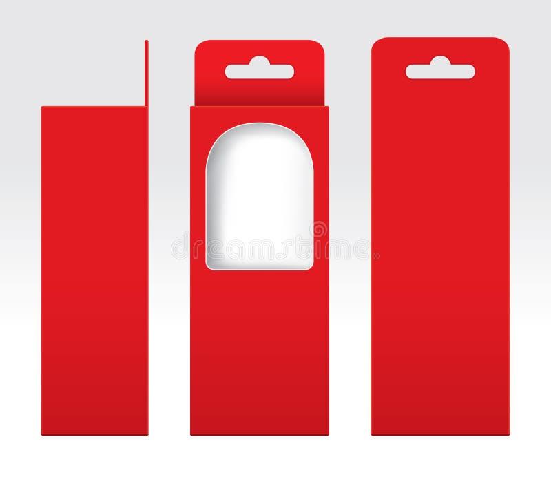Hängande rött klippt förpackande mallmellanrum ut för ask fönster, röd papp för tom ask, för kraft för gåvaaskar högvärdigt rött  royaltyfri illustrationer