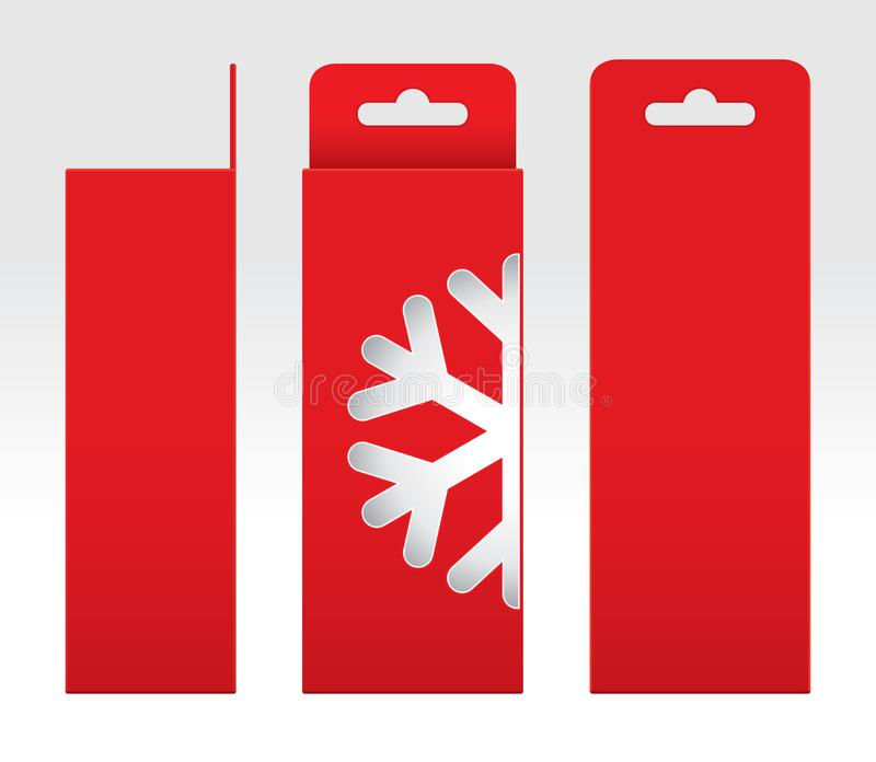 Hängande rött mellanrum för mall för askfönstersnö Shape klippt ut förpackande, röd papp för tom ask, för kraft för gåvaaskar röd stock illustrationer