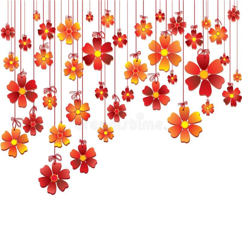 hängande rep för härliga blommor stock illustrationer