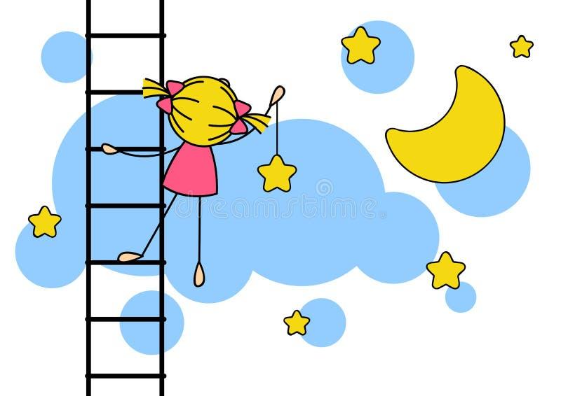 Hängande stjärna för gullig liten flicka stock illustrationer