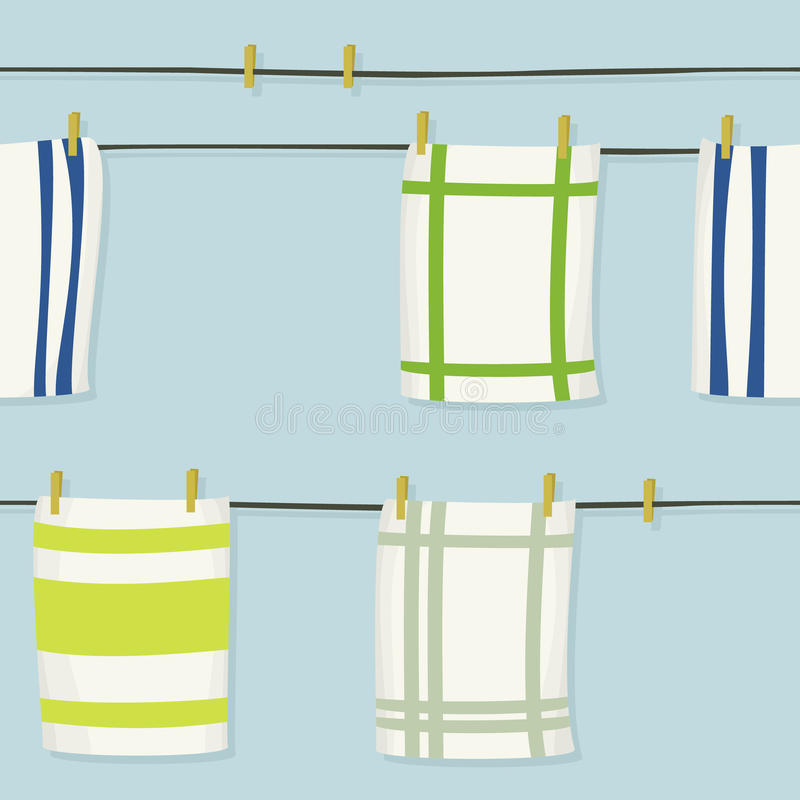 Hängande torkdukar på klädstreck vektor illustrationer