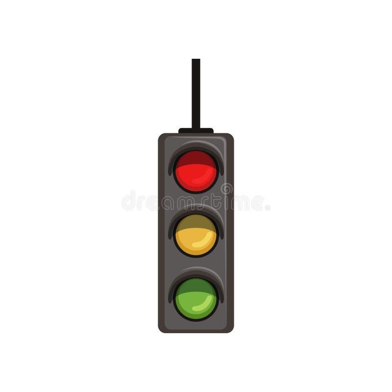 Hängande trafiksemafor för tecknad film med tre färgrika lampor Vägkontrollapparat med rött, gult, klartecken plant royaltyfri illustrationer