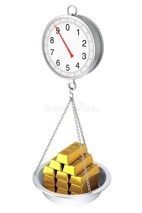 Hängande viktskala med bunten av guld- stänger framförande 3d royaltyfri illustrationer