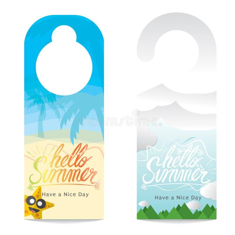 Hängare för dörr för begrepp för semester för sommar för bokstäver för Hello sommarhand royaltyfri illustrationer