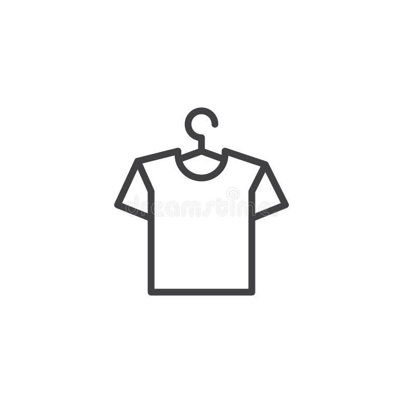 Hängare med skjortaöversiktssymbolen stock illustrationer