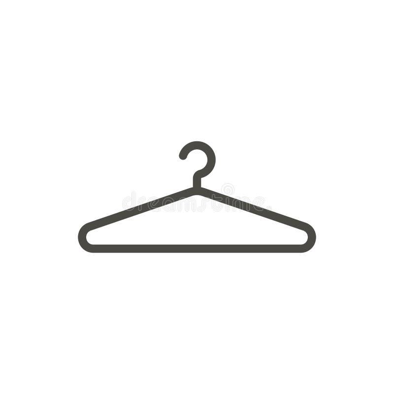 Hängaresymbolsvektor Linje klädhängaresymbol vektor illustrationer