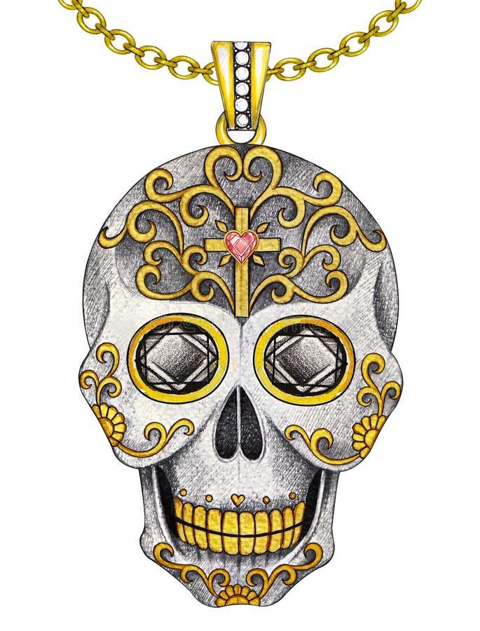 Hänge för skalle för smyckendesignsocker stock illustrationer
