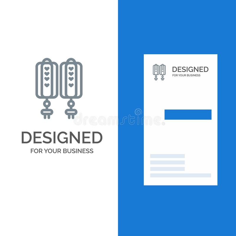 Hänge, Kina, kinesiskt, garnering Grey Logo Design och mall för affärskort stock illustrationer