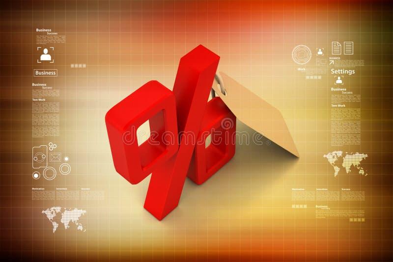 Hänge med procenttecknet stock illustrationer