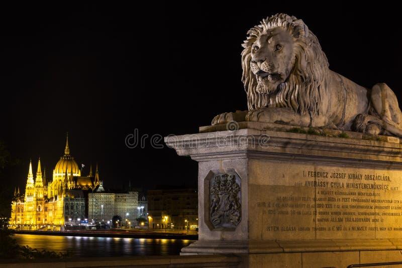 Hängebrücke Budapest und eine Ansicht über das Parlament lizenzfreie stockfotografie